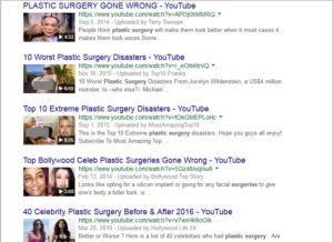 Google Videos search result for 'plastic surgery'